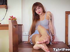 Pedicure ladyboy teasing with toes and arches