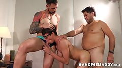 Anal slut twink barebacked by two daddies before cumming