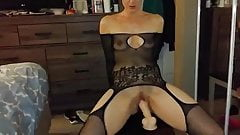 Wife Fucks Dildo - Husband Encourages Her