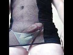 Cd - Amateur Lingerie - Black dress & white panty play n cum