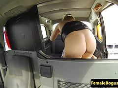 Bigtitted london cabbie doggystyled in car