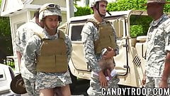 Military guys in an interracial outdoor gay orgy
