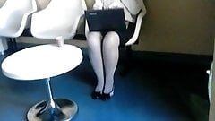spy sexy mature in pantyhose with laptop 2