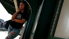Latina cutie nice ass in jeans waiting for the train