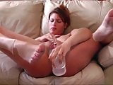 Selfie video : Girl having fun with a big dildo.