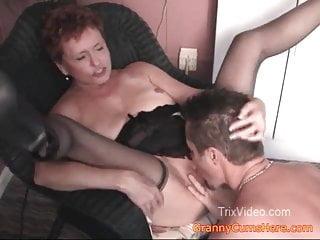Granny FUCKS boy while dad watches