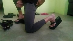 seven pairs of ladies shoes. cum on it of. thong sandal