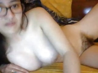 Asian With Hairy Pussy And Big Natural Tits Plays Solo