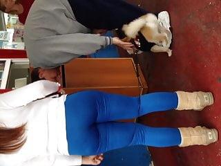 Fat ass Armenia in blue leggings