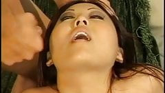 Cute asian with a tattoo on her tit gets big facial after tight pussy is fucked