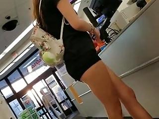 Walgreen's Creep Shots white slut showing off cheeks