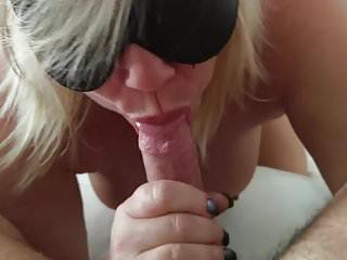 Blonde hot wife is blind folded and sucks cock