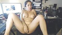 Horny Brunette Chick Rubs Her Sweet Cunt
