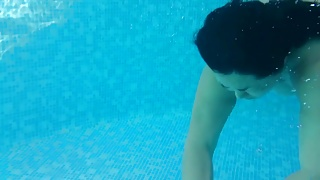Asian wife swimming big tits floating