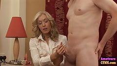 Hot blonde dominates cfnm cock
