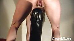 Gargantuan dildo fucking orgasms