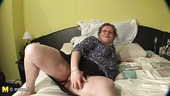 BBW real mother playing on her bed