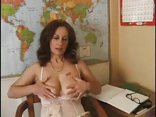 Bushy Busty Teacher Beats It Up