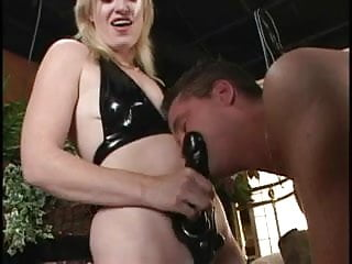 Horny stud sucks hot blondes strap-on cock before she fucks him