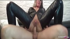 Rough DP Anal Fuck for German Latex Teen by two huge cock
