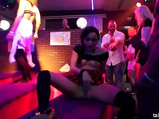 Bisexual babes fucking in a club