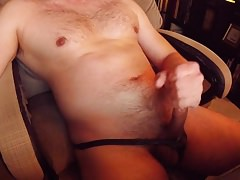 stroking and cumming hard in bikini underwear