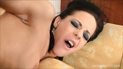 Busty Brooke Jameson picks up sexy escort Aliz for a hot les