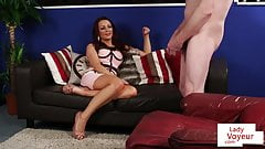 Dominant voyeur Brit instructs sub to jerkoff