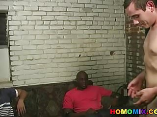 Preview 3 of Black men sharing the ass of a funny white guy