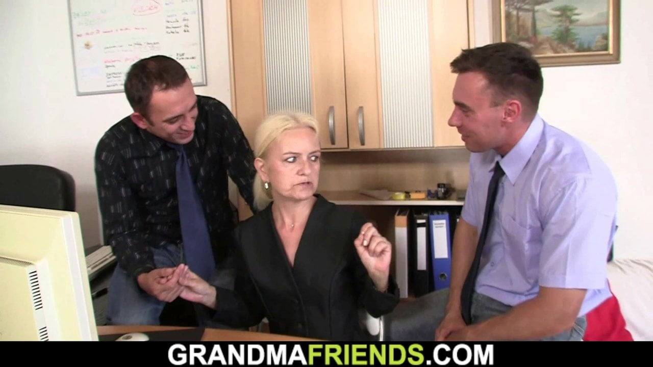 Two guys fuck old blonde granny for job
