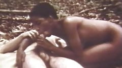 Black Girl Sucks and Rides White Cock in Woods (Vintage)