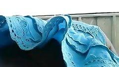 Blue dress upskirt