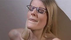 Blonde with glasses fuck herself