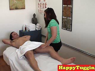 Asian massage babe jerking client cock