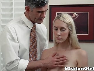 Timid young Mormon babe masturbates for perverted reverend