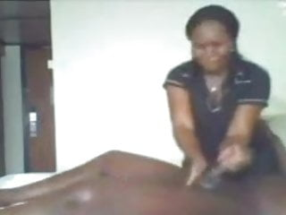 Ebony massage and handjob cumshot