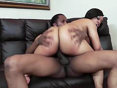 Busty and chubby ebony gets sex