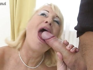 Grandma takes young boy's cock