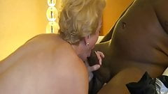 Blonde Gilf Cougar gives Great head to BBC.