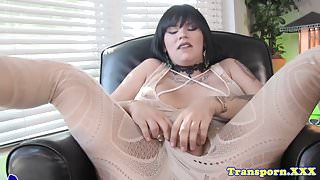 Bigtitted lingerie tgirl tugging her cock