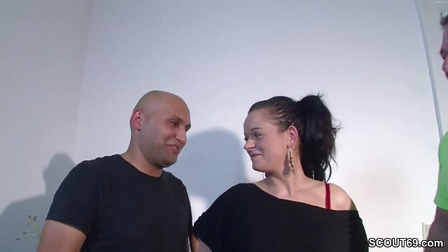 Preview 1 Of Real German Couple First Threesome Casting With Stranger