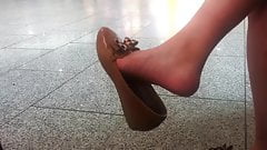 Candid asian girl dangle at the airport