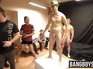 Handsome twink has bareback anal sex with an old bottom guy