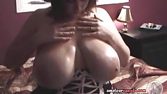 Busty maid massages oily big tits for customer