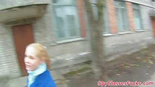 Smalltitted babe pov pussyfucked on spycam