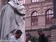 Cute teenage girl fucking in PUBLIC street by famous statue
