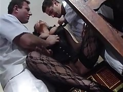 French MILF Huge Floppy Tits DP Stockings