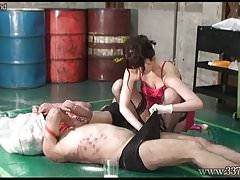 Japanese Femdom Asami Whipping and Handjobs