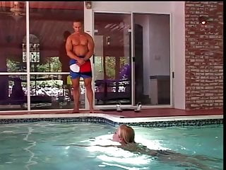 Hot blonde gets pussy licked fingered and fucked by the pool