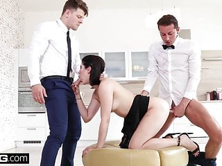 Lady Dee fucks the room service waiter and her boyfriend in